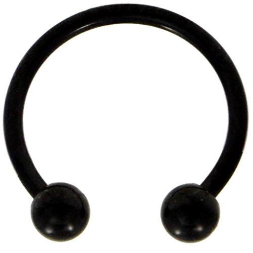 18G(1mm) Black Titanium IP Steel Ball End Circular Barbells Horseshoe Rings (Sold in Pairs) (18 Gauge 5/16