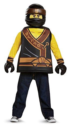 Disguise Cole Lego Ninjago Movie Classic Costume, Yellow/Black, Large (10-12) -