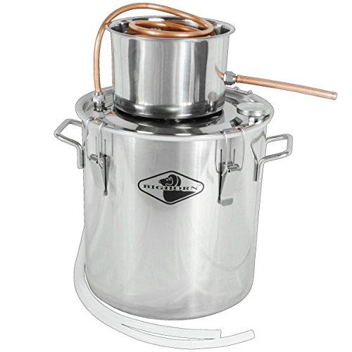 Big Horn 5 Gallon Single Keg Distillation Kit   Stainless Steel Distilling Equipment   Make Alcohol, Essential Oils, Distilled Water, With This Home Distiller   1 Year Warranty (5 Gal, Single Keg)