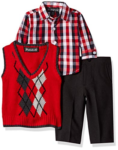 U.S. Polo Assn. Baby Boys 3 Piece Argyle Sweater Vest, Sport Shirt and Pant Set, Engine red, 3-6 Months (3 Shirt Sweater Vest Piece)