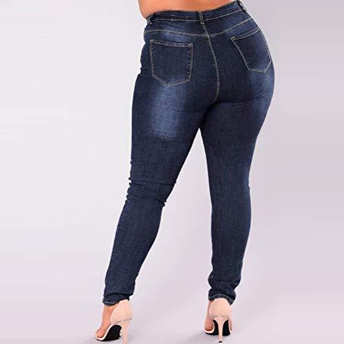 Estiramiento Mujeres Las Alta Pantalones Flacos Delgados Botón Huixin Casuales Lápiz 2 Stretch Bolsillos Blue Cintura Mezclilla De Vaqueros Con tYqIndx0