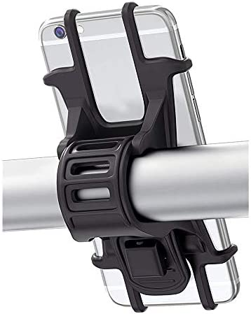 ACAMPTAR 自転車ラック、一般的な自転車用電話ラック、調整可能なシリコンハンドルバー、耐衝撃性および防振性自転車およびオートバイ用オンボードブラケット、ロードマウンテンバイク(ブラック)