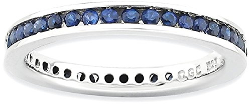 ICE CARATS 925 Sterling Silver Created Sapphire Band Ring Size 5.00 Stone Stackable Gemstone Birthstone September Fine Jewelry Gift Set For Women Heart by ICE CARATS
