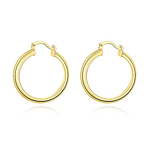 Stainless Steel Round Circle Hoop Earrings,18K Gold Plated High Polished Round-Tube Click-Top Huggy Hoop Earrings for Womens sensitive ears, All Sizes (35MM-Gold Plated) - 18k Gold Electroplate Ring