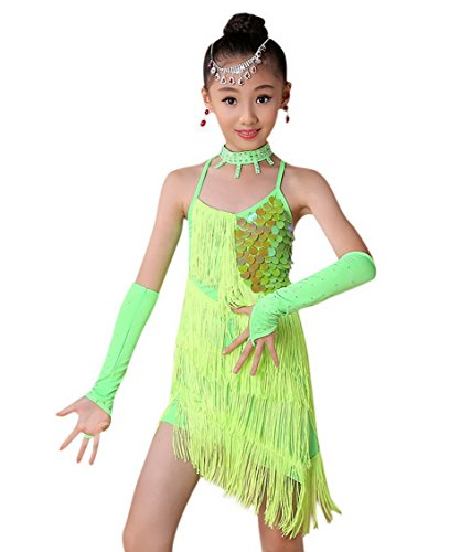 Happy Cherry Kids Girls Sequin Fringe Stage Performance Dance Dress Competition Ballroom Dancewear Costume for 3-4Y Green -