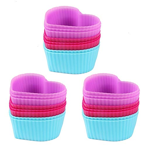 - Baking Cups, 24 Reusable Silicone Muffin Cups Mini Cake Baking Mold Random Color