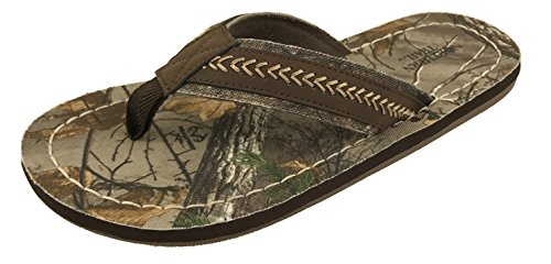 Realtree Camo Flip Flops for Men, Northern Trail Arrowhead S