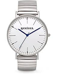 Speidel Mens Ultra Thin Stainless Steel Analog Slim Watch with Minimalist White Face, Simple Round Dial, Second...