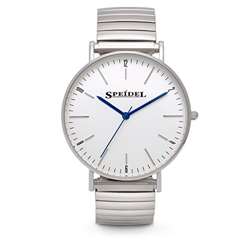 Band Watch Expansion Face (Speidel Men's Ultra Thin Stainless Steel Analog Slim Watch with Minimalist White Face, Simple Round Dial, Second Hand, Japanese Quartz Movement, Silver Metal Expansion Band and Water Resistant to 99ft)