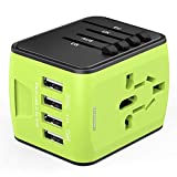 Universal Travel Adapter, International Power Adapter with 4 USB, Travel Plug Adapter for US, EU, UK, AU 150+ Countries, All in One European Adapter for iPhone, Android, All USB Devices-Green