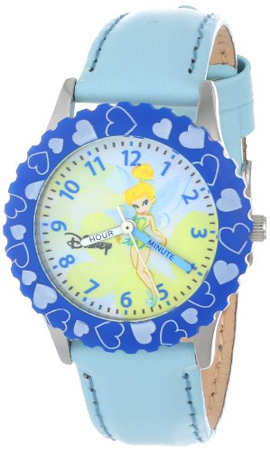 Disney Kids' W000068 Tinker Bell Time Teacher Stainless Steel Watch with Blue Leather Band