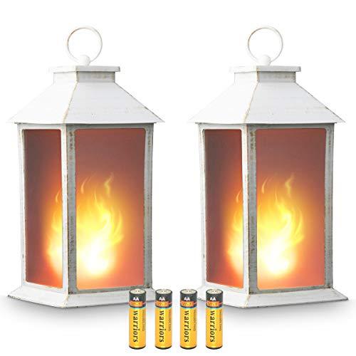 13 Vintage Style Decorative Lantern,Flickering Flame Effect LED Lantern,(Golden Brushed White,4 Hours Timer Battery Included) Indoor/Outdoor Hanging Lantern,Decorative Candle Lantern ZKEE (Set of 2)