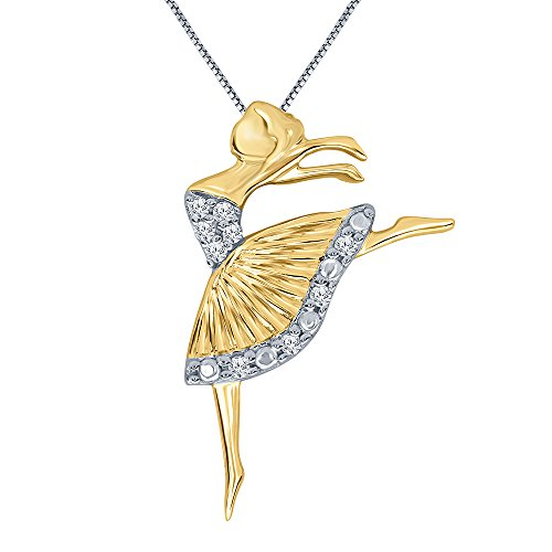 0.04 ct Round White Diamond 14K Yellow Gold Plated Sterling Silver Ballerina Dance Ballet Dancing Doll Angel Pendant Diamond Necklace for Women Teens ()