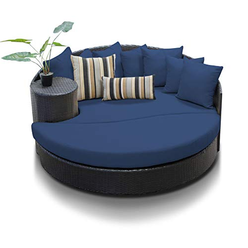 - TK Classics Navy Newport Outdoor Wicker Patio Circular Sun Bed Furniture