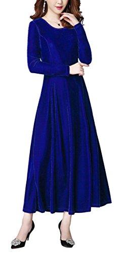 Urban GoCo Mujeres Elegante Vestidos Terciopelo Largo Vestido Manga Larga Maxi Vestidos para Cóctel Fiesta Azul Real