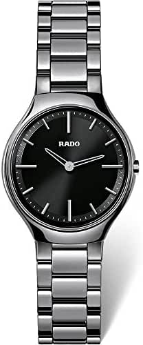 Rado R27956152 True Thinline Ladies Watch - Black Dial by Rado