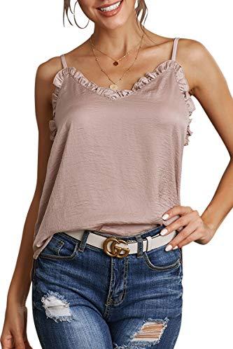 (Infinilla Women's Loose Ruffled V Neck Sleeveless Strappy Tank Top Summer Casual Shirts Blouses)