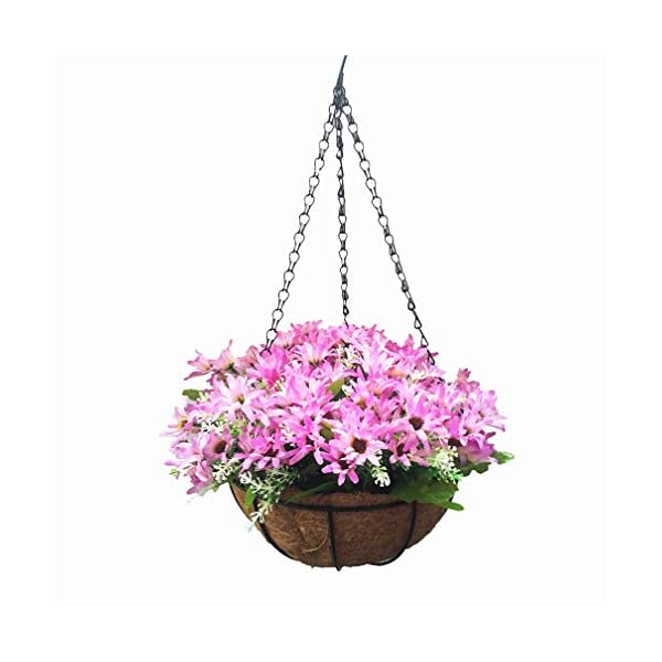 Mynse Hanging Flowerpot Artificial Plant Home Garden Outdoor Decoration Hanging Basket with Artificial Flower Silk Butterfly Daisy Purple with Red (Big Basket)