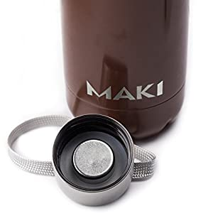 MAKI Vacuum Insulated Stainless Steel Water Bottle - 36 Hours Cold! Carry Strap Cap - 17 Ounce (Chocolate Brown, 17oz)