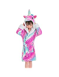 Tauras Kid's Unicorn Robe Bathrobe Soft Plush Hooded Sleepwear Housecoat Loungewear Festival Gift