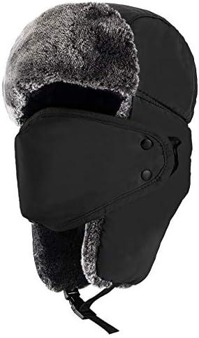 """mysuntown Trapper Hat Winter Hats for Men, Trooper Russian Warm Hat with Ear Flaps, Women Ushanka Bomber Fur Hats 22""""-24"""""""
