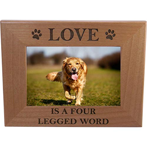 - CustomGiftsNow Love is A Four Legged Word Alder Wood Picture Frame - Great Gift for a Dog Lover (4x6 Horizontal)