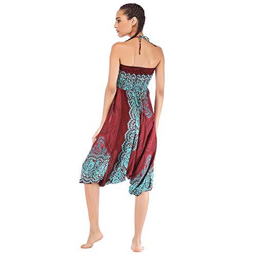 Harem Pants Women's Hippie Bohemian Yoga Pants One Size Aladdin Harem Hippie Pants Jumpsuit Smocked Waist 2 in 1 (Free, Wine) by BingYELH Yoga (Image #5)