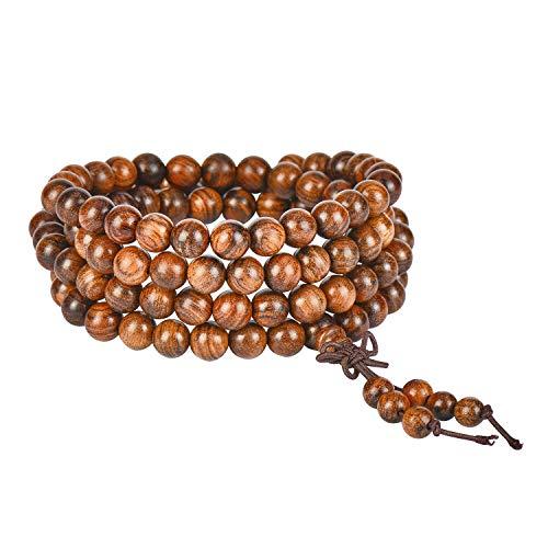 JIIUZUO Mala Beads Bracelet Necklace for Men Women 108 Prayer Beads for Meditation Yoga 6mm Natural Wood Beads Elastic Cord