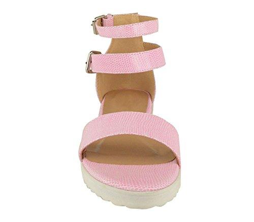 Ladies Womens Ankle Strap Gladiator Cleated Flatform Platform Sandals Shoes Size Pink Lizard Silver Buckle V8GqI