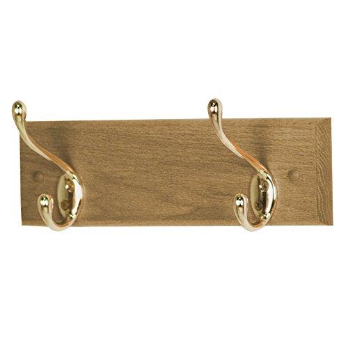 Mahogany Light 2 - Wooden Mallet 12-Inch 2-Brass Hook Coat Rack, Light Oak