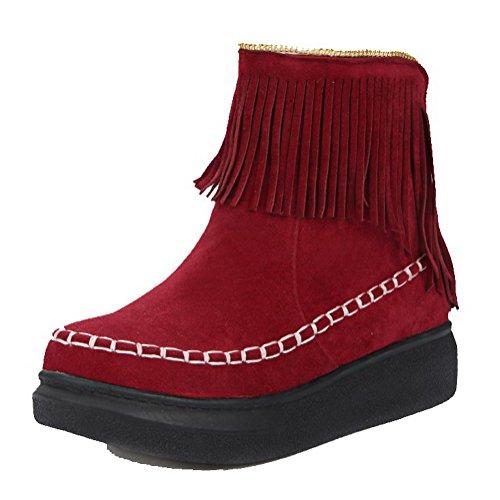 AllhqFashion Damen Rein Mattglasbirne Niedriger Absatz Rund Zehe Ziehen auf Stiefel Rot