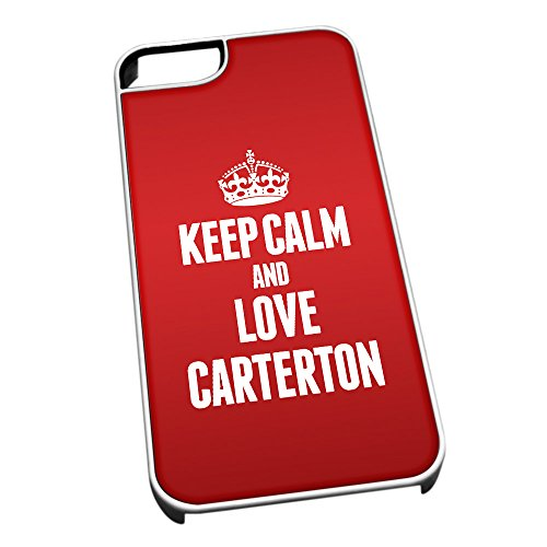 Bianco Cover per iPhone 5/5S 0132 Rosso Keep Calm And Love Carterton (