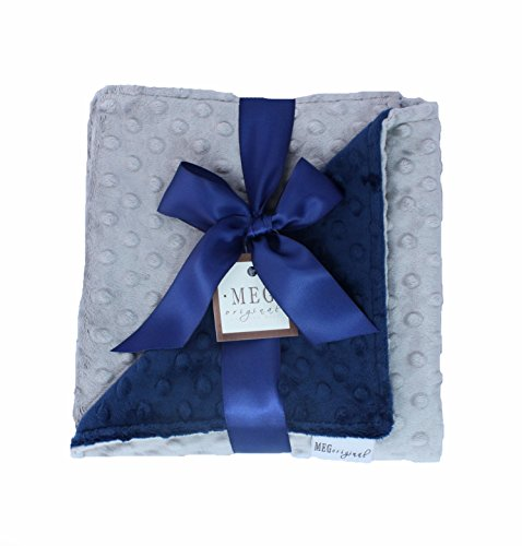 MEG Original Navy Blue & Silver Gray Minky Dot Baby Blanket -