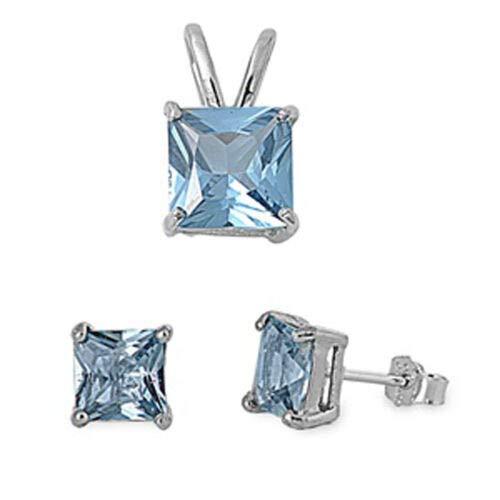 Solitaire Princess Cut Earrings Simulated Aquamarine Sterling Silver Pendant Set