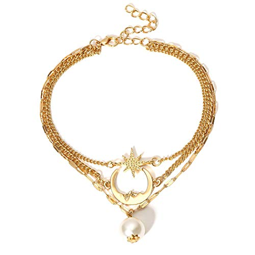 Cosmos-X Moon Cresent Star Anklet Bracelet Fashion Faux Pearl Beach Barefoot Sandal Foot Chain Jewelry Adjustable for Women and Girls(Gold) ()