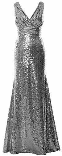 Women Gown Gray Formal V Gown Sequin MACloth Evening Bridesmaid Neck Party Maxi dqxSwdaPWY
