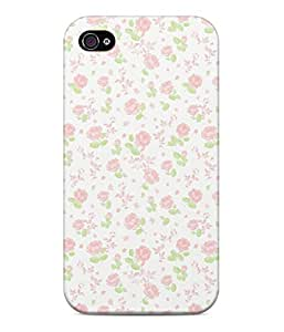 Pale Roses Pattern Vintage Flowers Shabby Chic Hard Plastic Snap On Back Case Cover For iPhone 4 / 4s Carcasa