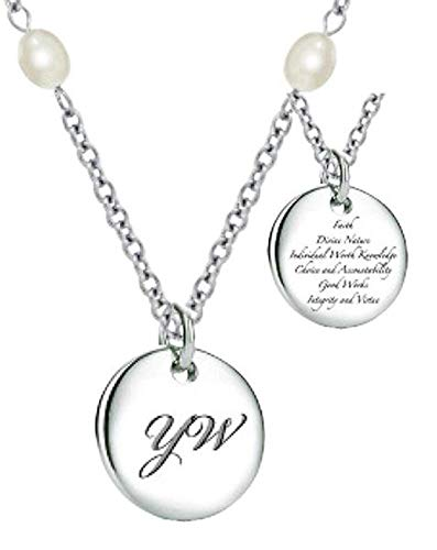 K12N LDS Women's CTR Necklace Young Women Stainless Steel W/Pearl Chain One Moment In Time (Necklace Ctr Owl)