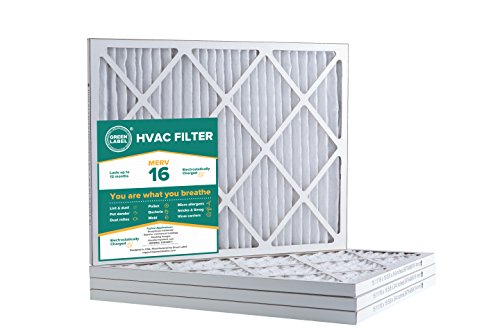 Green Label HVAC Air Filter 16x20x1, AC Furnace Air Ultra Cleaning Filter MERV 16 - Pack of 4