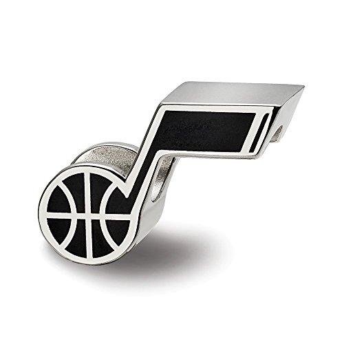 - Mia Diamonds 925 Sterling Silver RH-plate LogoArt Utah Jazz Note Basketball Enameled Bead Charm for Charm Bracelet