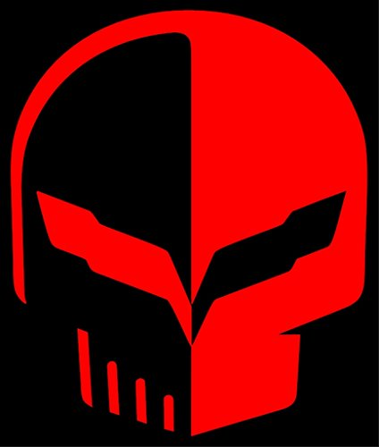 Clausen's World Jake Skull 3 Inch Car Vinyl Graphics Decals Qty 4, Fits Chevy Corvette C7 Stingray, Red