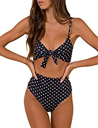 Blooming Jelly Women's High Waisted Bikini Swimsuit Tie Knot Two Piece Bathing Suits