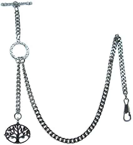 Albert Chain Pocket Watch Curb Link Chain Silver Color - 2 Ways Usage on Vests & Trousers or Jeans with Life Tree Design Fob T Bar ACT12