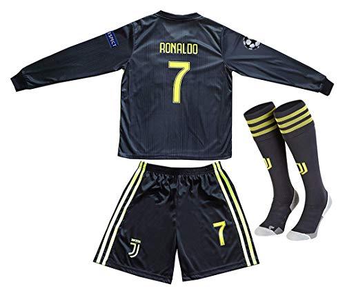 Offshore fireworks Juventus 2018-2019 Season #7 Ronaldo Away Youths/Kids Long Sleeve Soccer Jersey & Shorts & Socks Size 6-7 Years