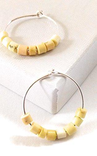 Turquoise Hoop Earring Silver Gemstone Yellow (Yellow Turquoise Gemstone)