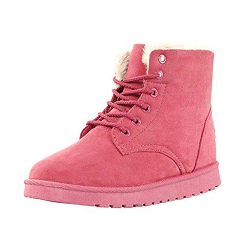 Hee Grand Damen Maedchen Lace-Up Winter Schuhe Schnee Schuhe Martin Boots Rot