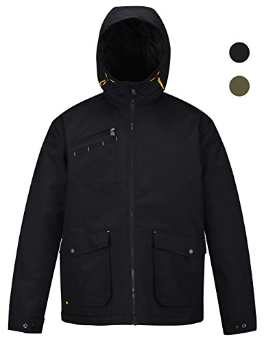 Athletic Winter Parka (HARD LAND Men's Insulated Winter Jacket Waterproof Windproof Coat Outdoor Parka Hooded Work Jacket Size M Black)