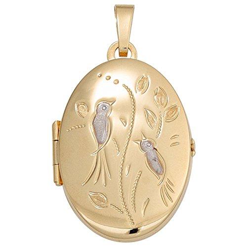Médaillon à ouvrir avec gravure oiseaux pendentif en or 333 ovale amulette