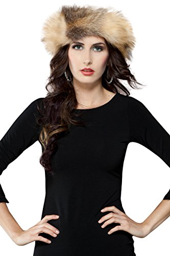 EM-EL Women's Cross Fox Fur Headband by EM-EL