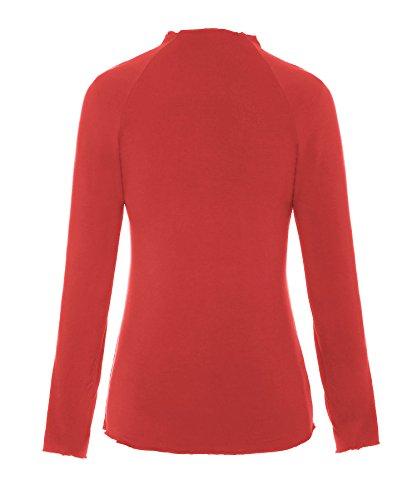 Tops Lunga T Manica Tinta Donne Raglan Base Solido Unita Tee Lupetto shirt Di Collo A Arancione Relibeauty 1EAPqnq